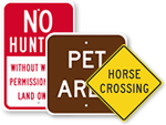 Pets and Animals Signs for Parks