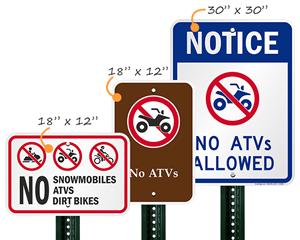 NoATV Allowed Sign
