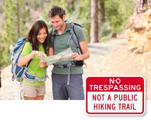 No Hiking Signs