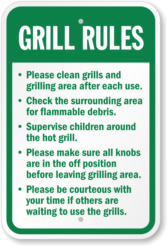 Grill Rules Clean Grills Amp Grilling Area Sign Ships