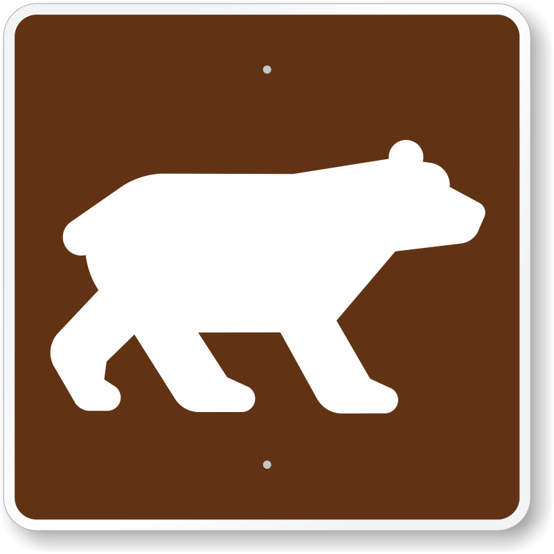 Campground Guide Signs on Brown Bear