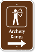 Archery Range in Right, Campground Guide Sign