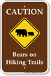 Caution Bears On Hiking Trails Campground Sign