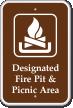 Designated Fire Pit & Picnic Area Campground Sign