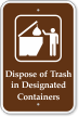 Dispose Of Trash In Designated Containers Sign