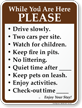 Drive Slowly, No Littering Campground Rules Sign