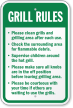 Grill Rules, Clean Grills And Grilling Area Sign