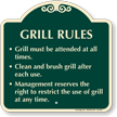 Grill Rules Grill Must Be Attended Signature Sign