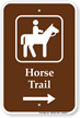 Horse Trail Right Arrow Sign