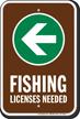 License Needed Left Arrow Fishing Sign