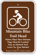 Mountain Bike Trail Head, Riders Wear Helmets Sign
