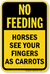 No Feeding Or Touching Horses Sign