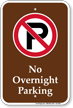 No Overnight Parking Campground Sign