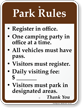 Park Rules, Visitors Must Register Campground Sign