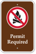 Permit Required No Campfire Symbol Campground Sign