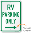 RV Parking At Right, Reserved Parking Sign
