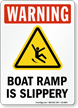 Boat Ramp Is Slippery Warning Sign