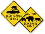 Bear Crossing Signs