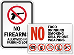 Fireworks & Weapon Prohibition Signs