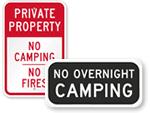No Camping Allowed Signs - No Camping Signs