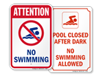 No Swimming Signs