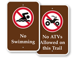 Recreational Prohibiition Signs
