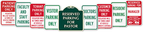 Reserved Parking Signs By Title