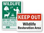 Wildlife Restoration Area Signs