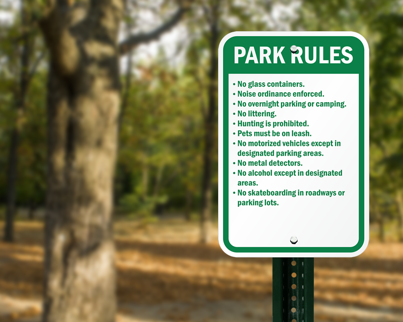 Park Signs, Brown Park Guide Signs, Park Rules Signs