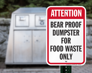 Bear Proof Food Dumpster Signs