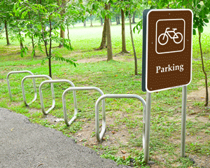 Bicycle Campground Parking Signs