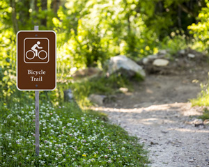 Bicycle Trail Campground Park Sign