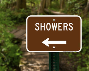 Campground Shower Directional Sign