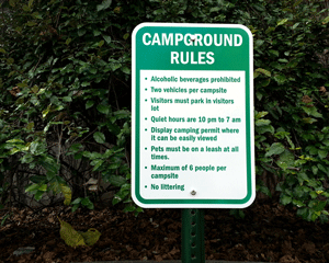 Listed Campground Rules Signs