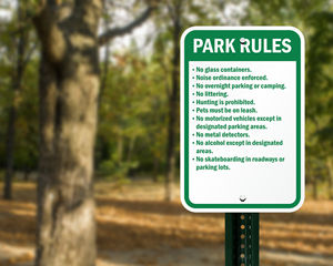 Campground park rules sign