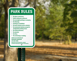 Custom Campground Park Rules Sign