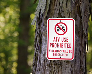 No ATV Signs Sizes