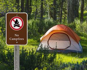 No campfires campground park sign