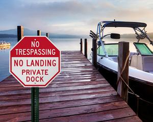 No Landing Private Dock No Trespassing Sign