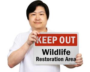 Wildlife Restoration Area Sign