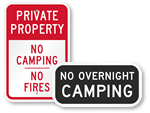 No Camping Allowed Signs