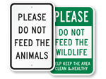 No Feeding Animals Signs