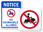 No Snowmobiles Signs