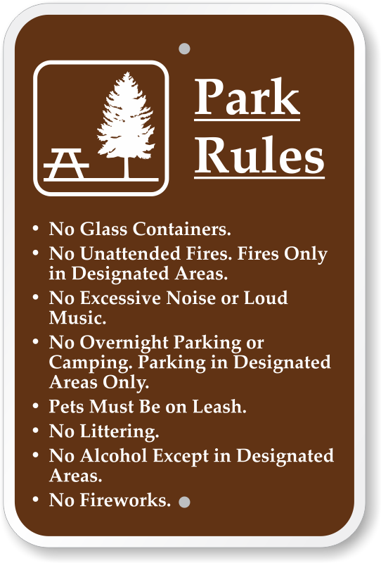 Campground Rules Signs