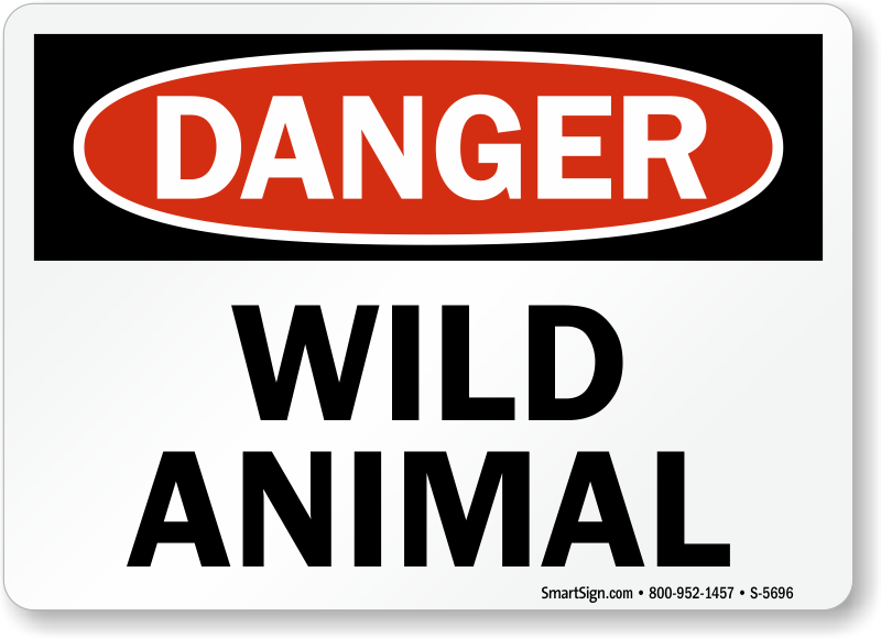 danger animal wild sign signs wildlife osha exit keep feed photoluminescent acrylic horses touching area campgroundsigns