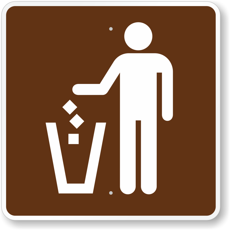 Litter Receptacle, MUTCD Guide Sign For Campground, SKU: X