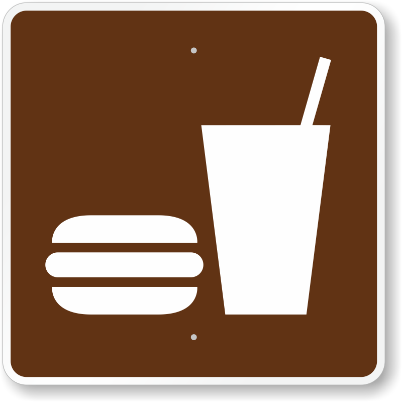 Fitness Center Rules Aluminum Sign Square Shape Free: Snack Bar, MUTCD Guide Sign For Campground, SKU: X-RS-102