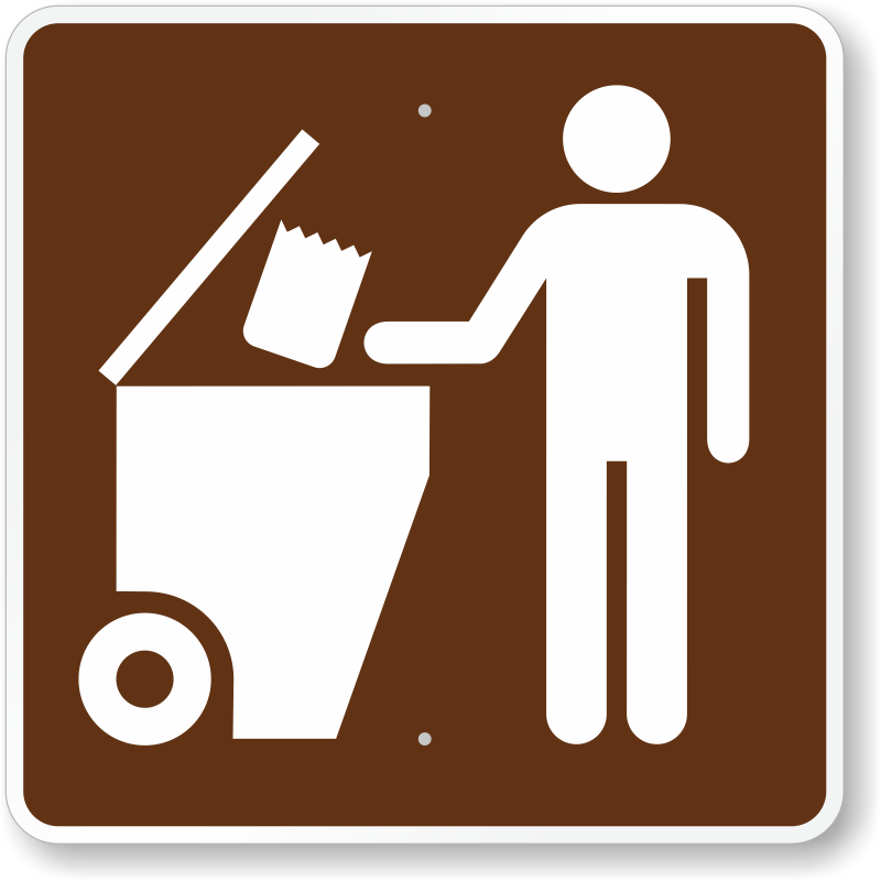 Trash Dumpster, MUTCD Guide Sign For Campground, SKU: X-RS-091