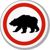 Bear Symbol ISO Circle Sign