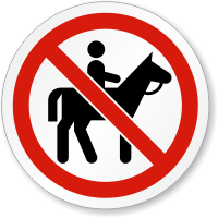 No Horse Riding Symbol ISO Prohibition Circular Sign